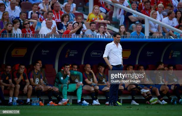 Spain manager Fernando Hierro looks on during the 2018 FIFA World Cup Russia Round of 16 match between Spain and Russia at Luzhniki Stadium on July 1...