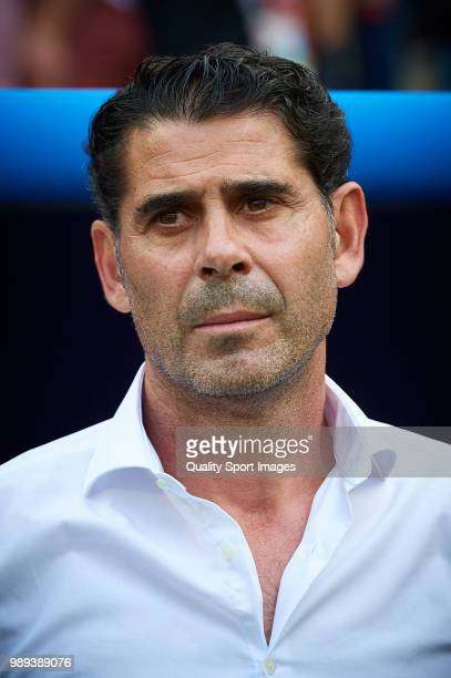 Spain manager Fernando Hierro looks on prior the 2018 FIFA World Cup Russia Round of 16 match between Spain and Russia at Luzhniki Stadium on July 1...