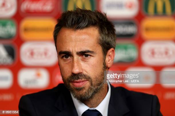Spain manager Jorge Vilda chats to media during the UEFA Women's Euro 2017 Group D match between Spain and Portugal at Stadion De Vijverberg on July...