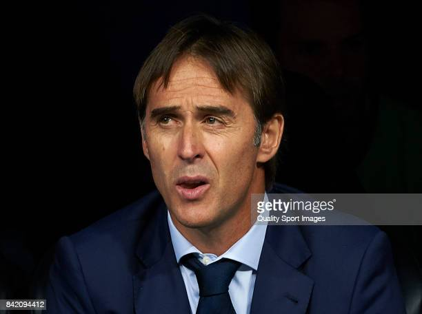 Spain manager Julen Lopetegui looks on prior the FIFA 2018 World Cup Qualifier between Spain and Italy at Estadio Santiago Bernabeu on September 2...
