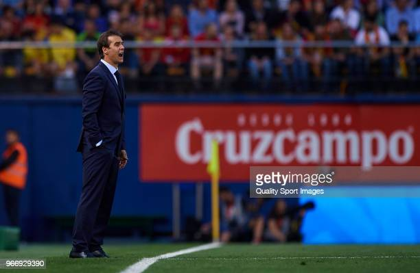 Spain manager Julen Lopetegui reacts during the International Friendly match between Spain and Switzerland at Estadio de la Ceramica on June 3 2018...
