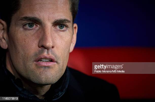 Spain manager Robert Moreno looks on prior the UEFA Euro 2020 Qualifier between Spain and Romania on November 18 2019 in Madrid Spain