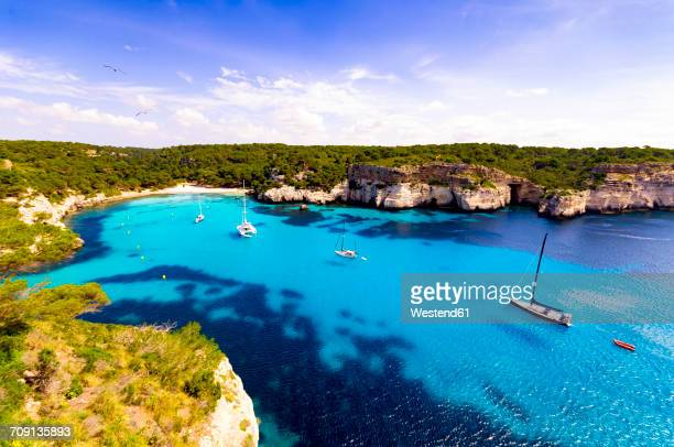 spain, menorca, cala macarella - balearic islands stock pictures, royalty-free photos & images