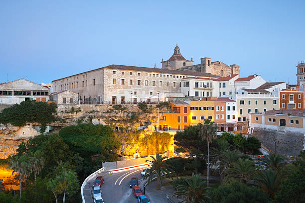 Spain, Menorca, Mahon, View Of Old Town At Evening Wall Art