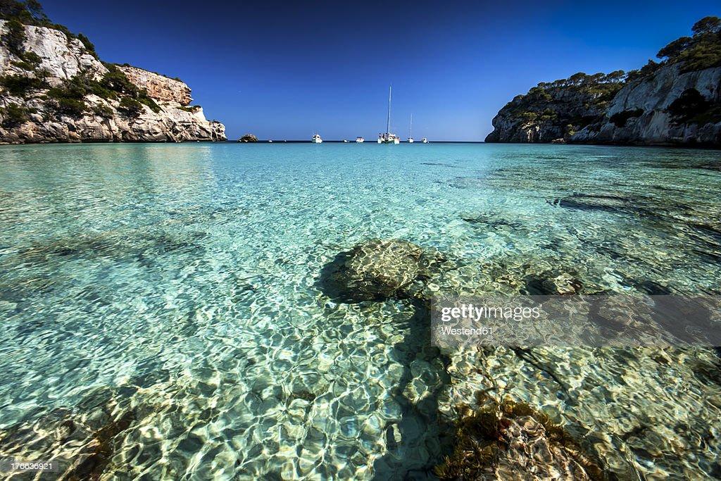 Spain, Menorca, View of Cala Macarella : ストックフォト