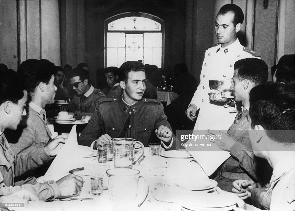 Spain Military Academy. King ALPHONSE XIII of Spain's grand-son JUAN CARLOS (aged 19 at that time) sharing lunch with the Academy's students. He was chosen by General FRANCO as King of Spain to the detriment of his father JUAN, Count of Barcelona so he was given a military education.