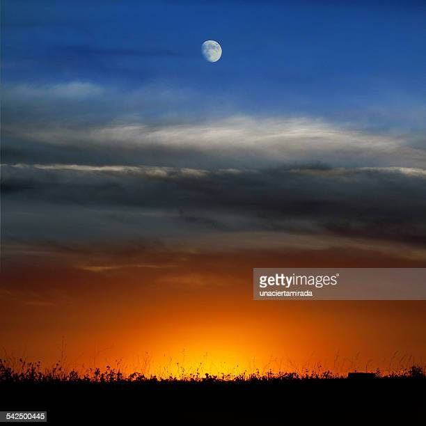 Spain, Moon over sunset