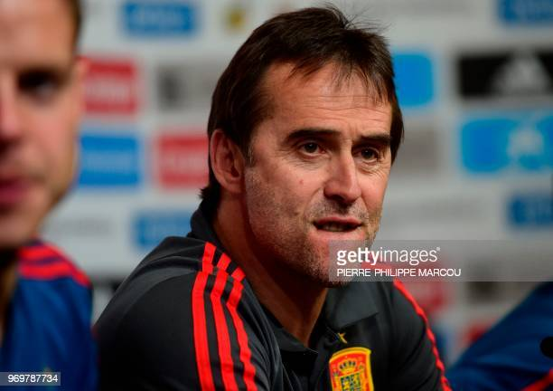 Spain national football team coach Julen Lopetegui reacts during a press conference at Krasnodar's stadium on June 8 2018 on the eve of the...