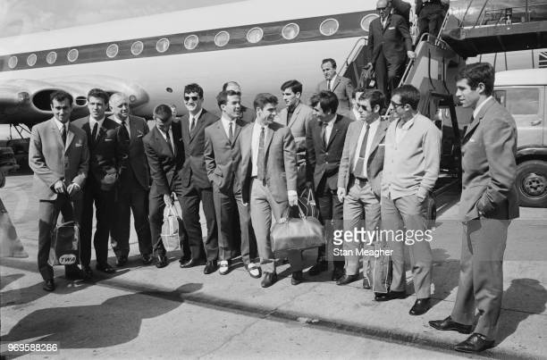 Spain National Football Team soccer players posing for a group photo after landing at Heathrow Airport, London, UK, 23rd May 1967.