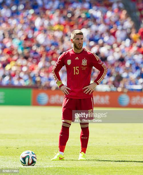 Spain National Team player Sergio Ramos is part of the team that will be representing Spain in the upcoming 2014 FIFA World Cup eyes up the penalty...
