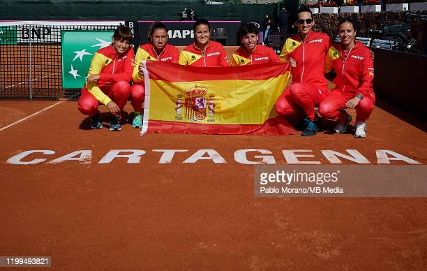 Spain National team pose for a photograph celebrating the qualification to Budapest, after Carla Suarez of Spain defeat Kurumi Nara of Japan during...