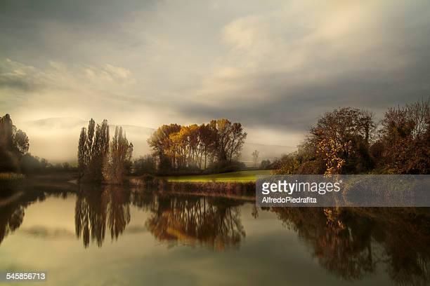 Spain, Navarra, Comunidad Foral de Navarra, Guendulain, Symmetrical landscape with trees reflecting in pond