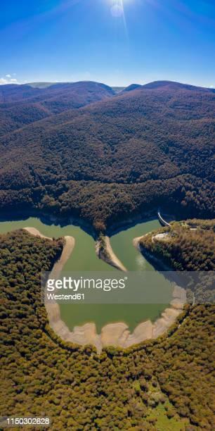 spain, navarra, irati forest, scenic with reservoir - comunidad foral de navarra fotografías e imágenes de stock