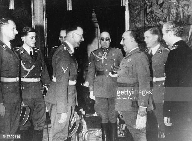 Spain Nazi leader and head of the SS Heinrich Himmler meeting General Francisco Franco y Bahamonde in the Royal Palace of El Pardo near Madrid right...