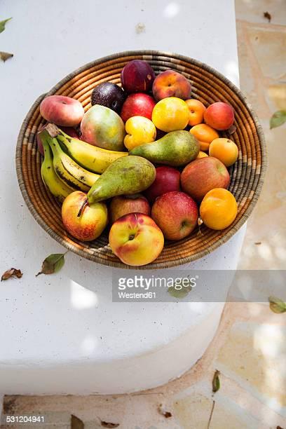 Spain, organic food, basket full of fruits