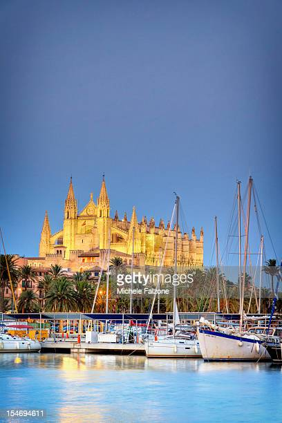 spain, palma de mallorca, harbour and old town - palma majorca stock photos and pictures