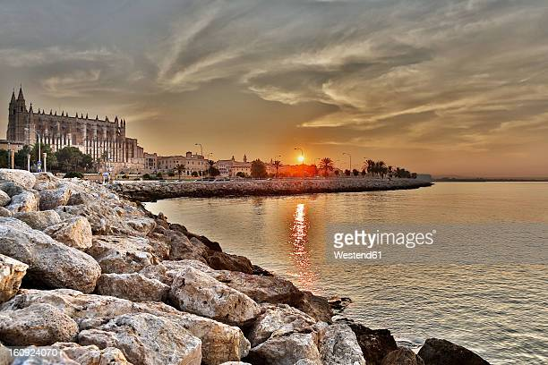 spain, palma, mallorca, view of cathedral de palma at sunrise - palma majorca stock pictures, royalty-free photos & images