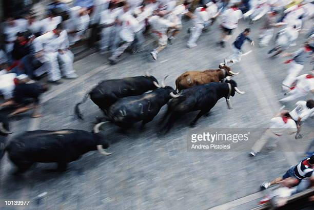 Spain, Pamplona, Encierro, 'Running of the bulls', elevated view