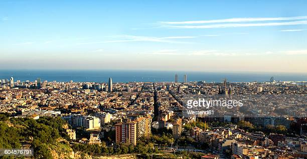 spain, panoramic view of barcelona - montjuic stock pictures, royalty-free photos & images