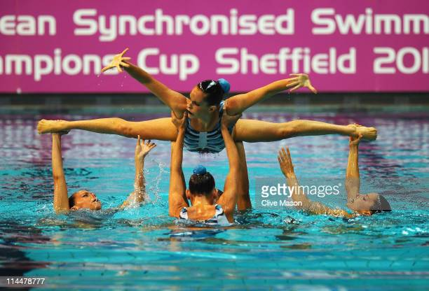Spain perform in the team free preliminaries during the LEN European Synchronised Swimming Champions Cup on May 21 2011 in Sheffield England