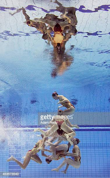 Spain perform their routine during the Womens Team Technical Synchronised Swimming Competition at EuropaSportpark on August 13 2014 in Berlin Germany
