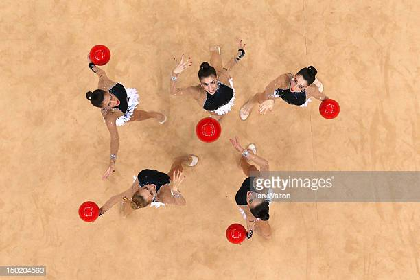 Spain perform with the ball during the Group AllAround Rhythmic Gymnastics Final Rotation on Day 16 of the London 2012 Olympic Games at Wembley Arena...