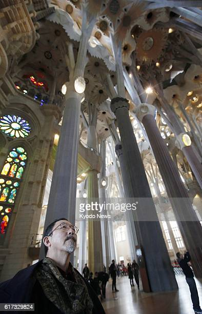 Spain - Photo shows Japanese sculptor Etsuro Sotoo, known for his works at the world-famous Sagrada Familia cathedral in Barcelona, Spain, inside the...