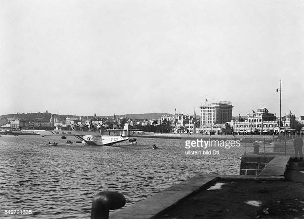 Spain pictures partial view ther harbour of La Coruna Galicia in the harbour basin a Dornier Do X 1932