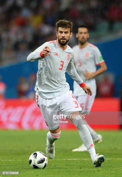 Spain player Gerard Pique in action during the 2018 FIFA World Cup Russia group B match between Portugal and Spain at Fisht Stadium on June 15 2018...