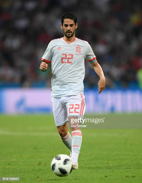 Spain player Isco in action during the 2018 FIFA World Cup Russia group B match between Portugal and Spain at Fisht Stadium on June 15 2018 in Sochi...