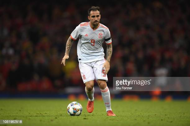 Spain player Paco Alcacer in action during the International Friendly match between Wales and Spain on October 11 2018 in Cardiff United Kingdom