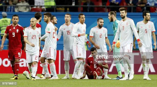 Spain players are pictured after defeating Iran 10 in a World Cup Group B match in Kazan Russia on June 20 2018 ==Kyodo