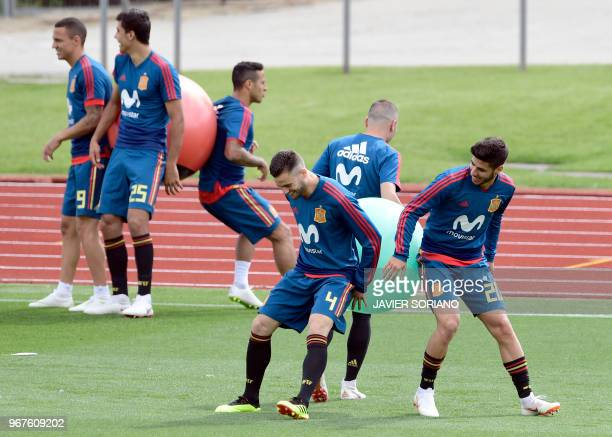 Spain players attends a training session at Las Rozas de Madrid sports city on June 5 2018