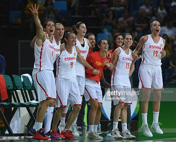 Spain players celebrate defeating Serbi during the Women's Basketball Semifinal match between Spain and Serbia at the Carioca Arena on Day 13 of the...