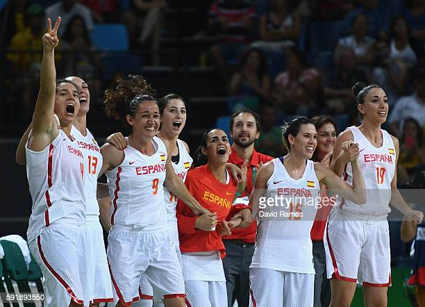 Spain players celebrate defeating Serbia during the Women's Basketball Semifinal match between Spain and Serbia at the Carioca Arena 1 on Day 13 of...