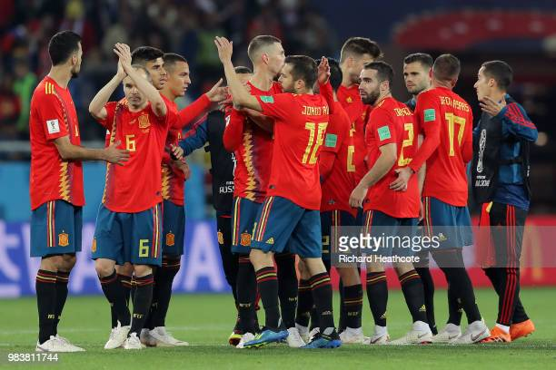 Spain players celebrate following the 2018 FIFA World Cup Russia group B match between Spain and Morocco at Kaliningrad Stadium on June 25 2018 in...