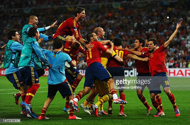 Spain players celebrate vicotry during the UEFA EURO 2012 semi final match between Portugal and Spain at Donbass Arena on June 27 2012 in Donetsk...
