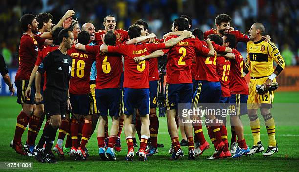 Spain players celebrate victory after the UEFA EURO 2012 final match between Spain and Italy at the Olympic Stadium on July 1 2012 in Kiev Ukraine