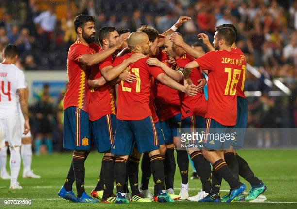 Spain players celebrates a goal of Alvaro Odriozola during the International friendly football match between Spain and Suisse at La Ceramica Stadium...