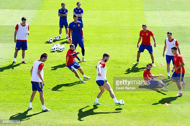 Spain players in action during a training session ahead of their UEFA Euro 2016 round of 16 match against Italy at Complexe Sportif Marcel Gaillard...