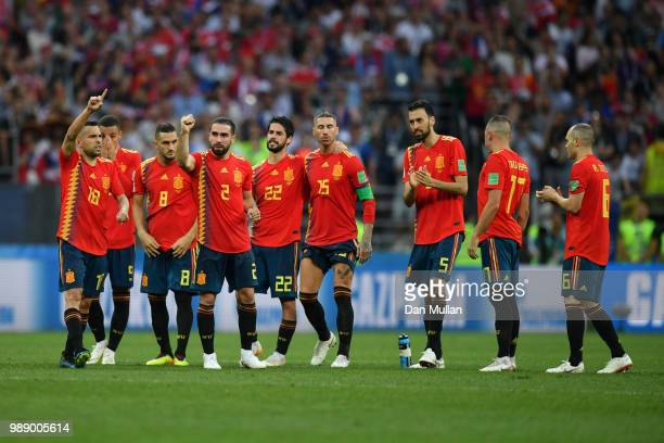 Spain players line up during the penalty shoot out during the 2018 FIFA World Cup Russia Round of 16 match between Spain and Russia at Luzhniki...