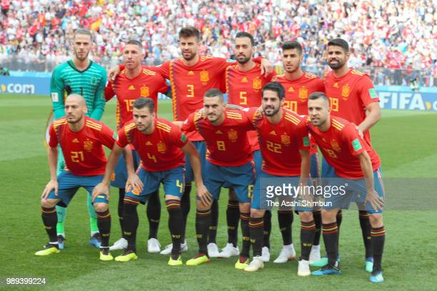 Spain players line up for the team photos prior to the 2018 FIFA World Cup Russia Round of 16 match between Spain and Russia at Luzhniki Stadium on...