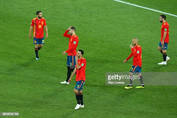 Spain players look dejected after conceding during the 2018 FIFA World Cup Russia group B match between Spain and Morocco at Kaliningrad Stadium on...