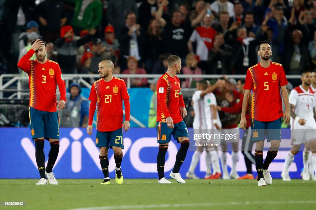 Spain players look dejected after conceding during the 2018 FIFA World Cup Russia group B match between Spain and Morocco at Kaliningrad Stadium on June 25, 2018 in Kaliningrad, Russia.
