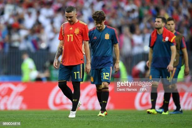 Spain players look dejected following the 2018 FIFA World Cup Russia Round of 16 match between Spain and Russia at Luzhniki Stadium on July 1 2018 in...