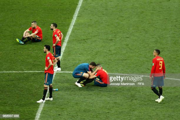 Spain players looked dejected following the 2018 FIFA World Cup Russia Round of 16 match between Spain and Russia at Luzhniki Stadium on July 1 2018...