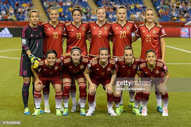Spain players pose for a team photo during the 2015 FIFA Women's World Cup Group E match against Costa Rica at Olympic Stadium on June 9 2015 in...