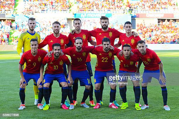Spain players pose for a team picture before the kickoff during an international friendly match between Spain and Georgia at Alfonso Perez stadium on...
