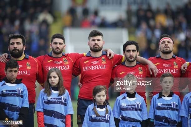 Spain players prior the Rugby Europe International Championship round three match between Romania and Spain at Botosani Municipal Stadium on February...