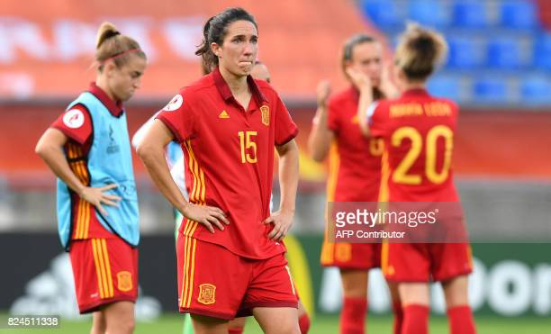 Spain players react after losing the UEFA Womens Euro 2017 quarterfinal football match between Austria and Spain at the Willem II Stadium in Tilburg...